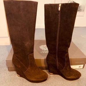 Vince Camuto Brown Suede Wedge Boots